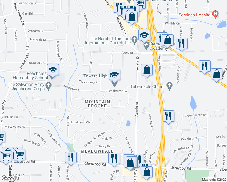map of restaurants, bars, coffee shops, grocery stores, and more near 1596 W Austin Rd in Decatur