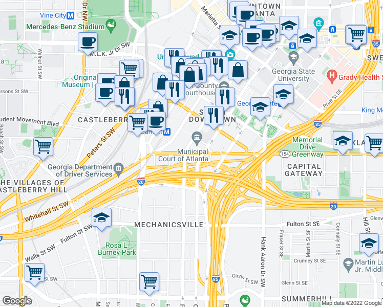 map of restaurants, bars, coffee shops, grocery stores, and more near 213-239 Memorial Dr SW in Atlanta