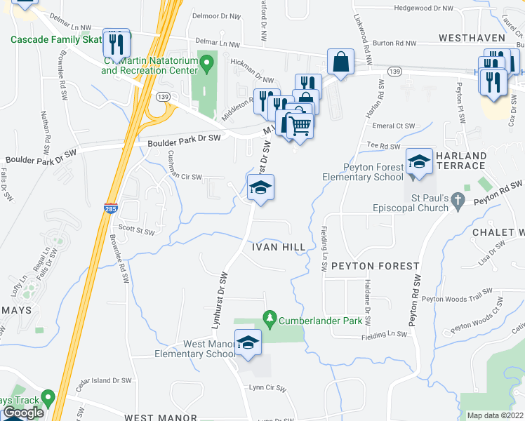 map of restaurants, bars, coffee shops, grocery stores, and more near 3079-3099 Lynhurst Cir SW in Atlanta