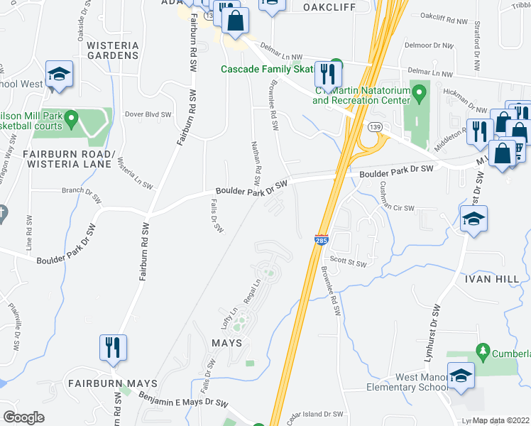 map of restaurants, bars, coffee shops, grocery stores, and more near 3440 Boulder Park Drive Southwest in Atlanta