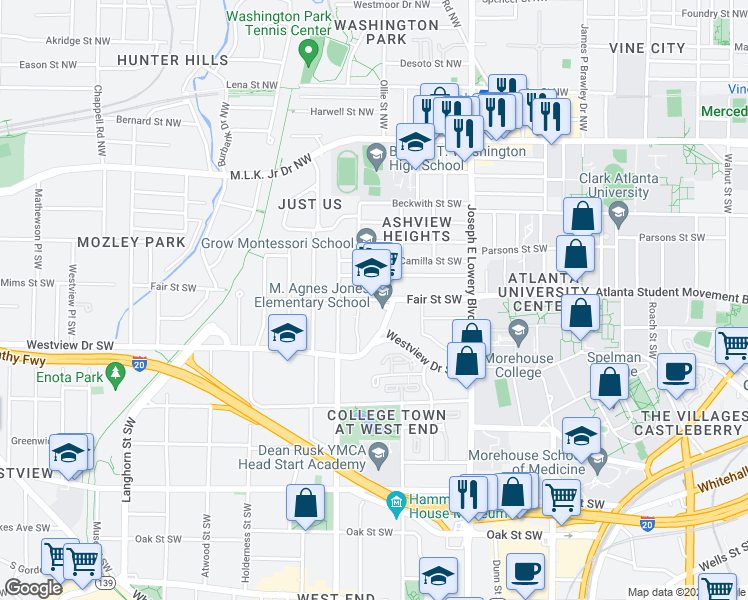 map of restaurants, bars, coffee shops, grocery stores, and more near 1040 Fair Street Southwest in Atlanta