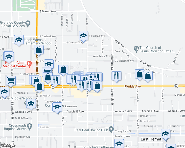 map of restaurants, bars, coffee shops, grocery stores, and more near 200 North Yale Street in Hemet