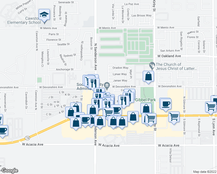 map of restaurants, bars, coffee shops, grocery stores, and more near 3123 Janae Way in Hemet