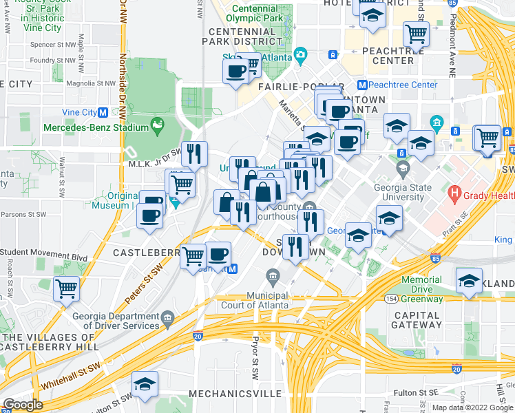 map of restaurants, bars, coffee shops, grocery stores, and more near Mitchell St SW & Forsyth St SW in Atlanta