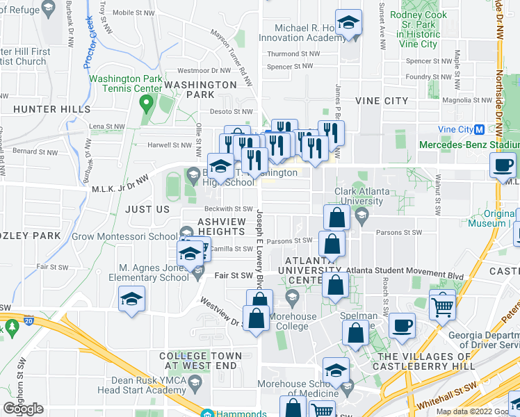 map of restaurants, bars, coffee shops, grocery stores, and more near 897 Dru