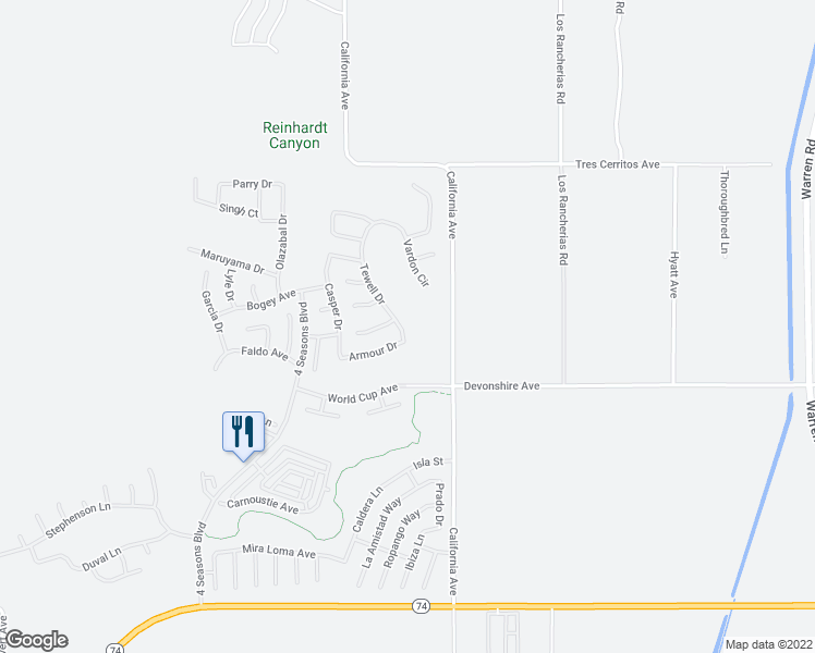 map of restaurants, bars, coffee shops, grocery stores, and more near 398 Tewell Dr in Hemet