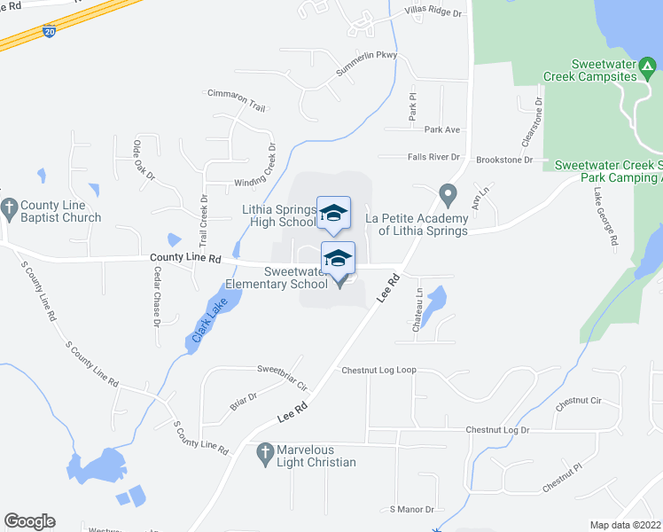 map of restaurants, bars, coffee shops, grocery stores, and more near 2070-2100 East County Line Road in Lithia Springs