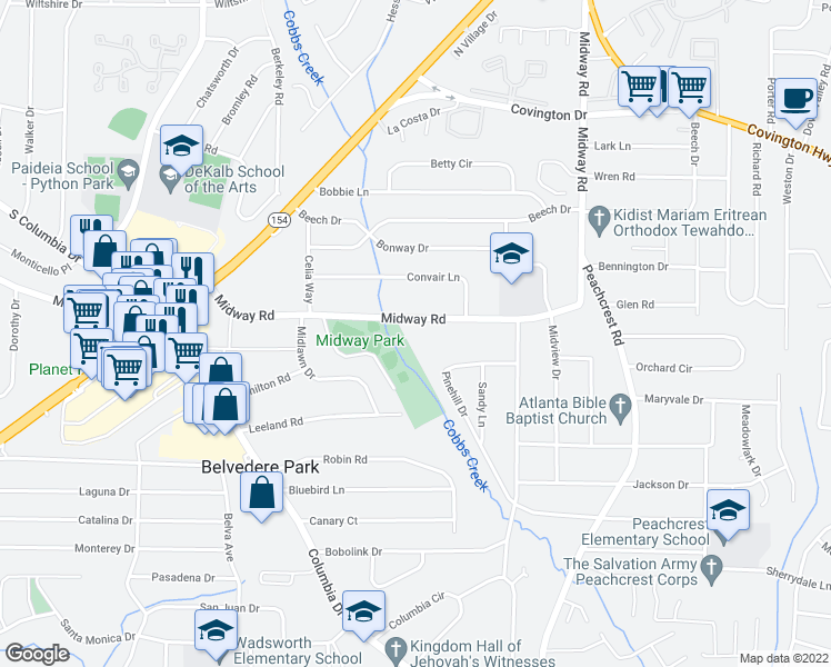 map of restaurants, bars, coffee shops, grocery stores, and more near 3227 Midway Rd in Decatur