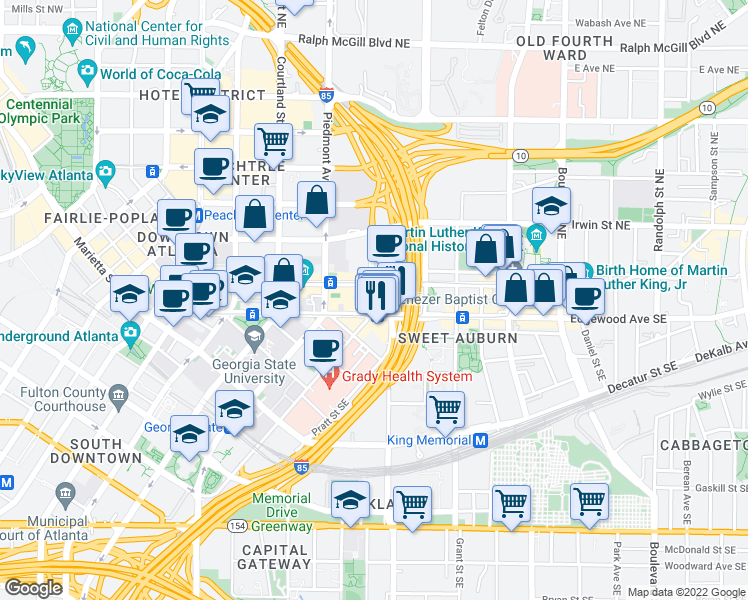 map of restaurants, bars, coffee shops, grocery stores, and more near 2-18 Bell St NE in Atlanta
