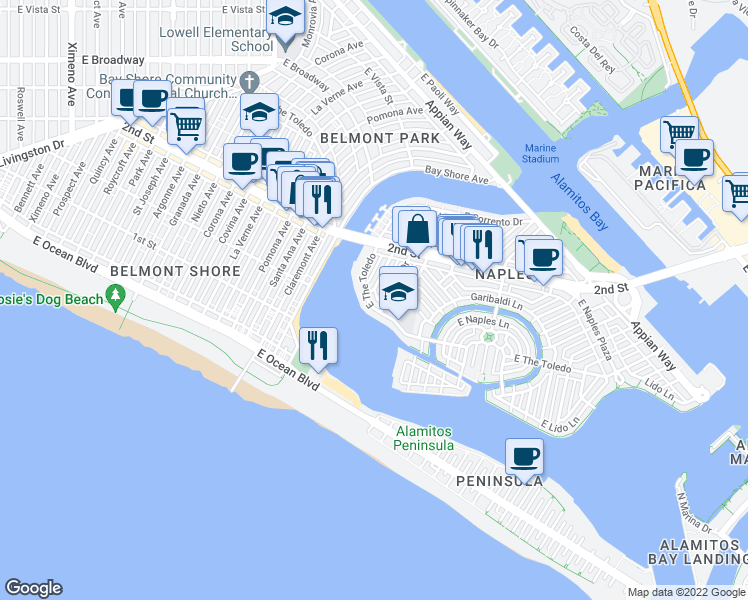 map of restaurants, bars, coffee shops, grocery stores, and more near 5475 E The Toledo in Long Beach