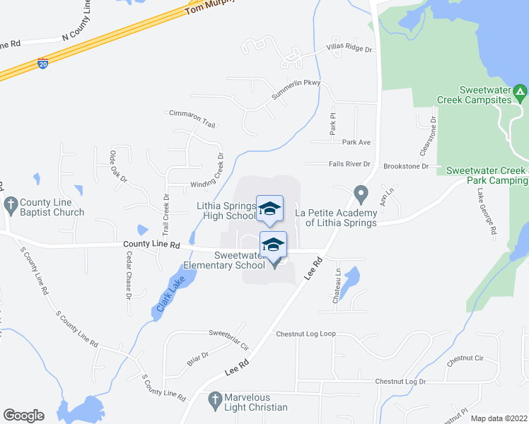 map of restaurants, bars, coffee shops, grocery stores, and more near 2520 East County Line Road in Lithia Springs