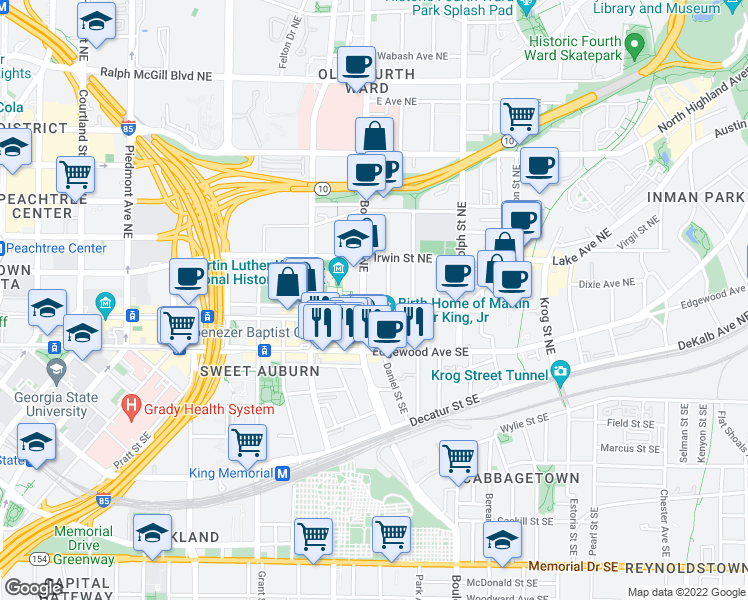 map of restaurants, bars, coffee shops, grocery stores, and more near 486 Old Wheat St NE in Atlanta