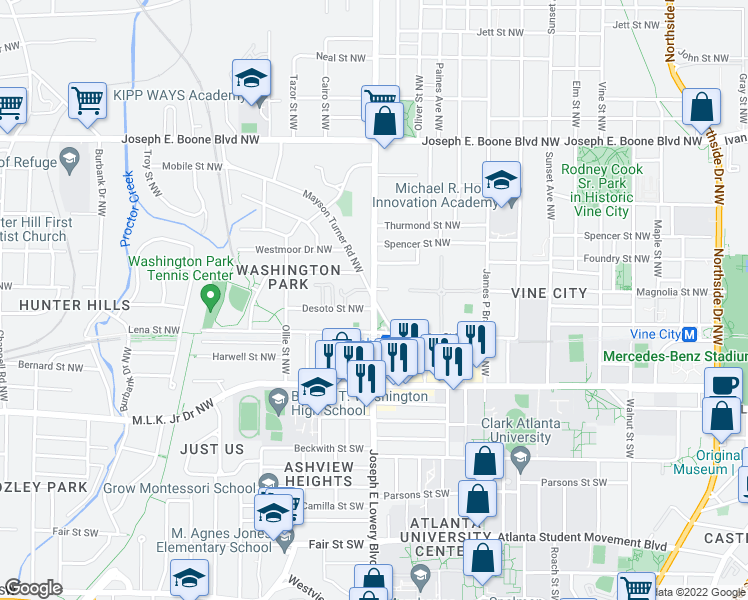 map of restaurants, bars, coffee shops, grocery stores, and more near Joseph East Lowery Blvd & Mayson Turner Rd NW in Atlanta