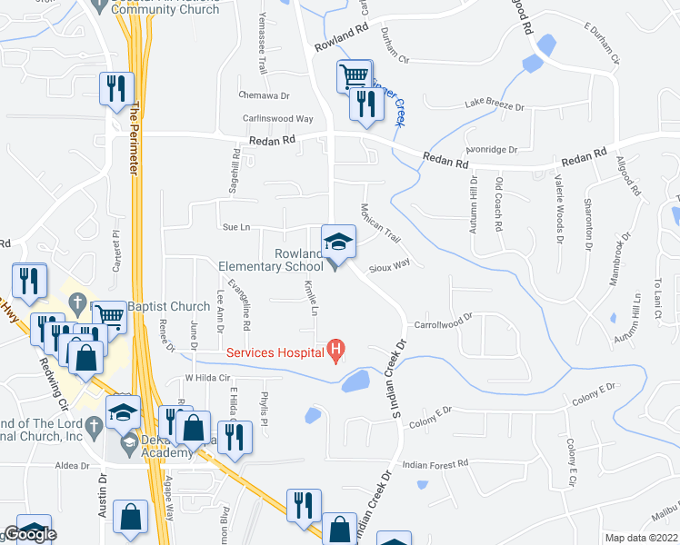 map of restaurants, bars, coffee shops, grocery stores, and more near 1317 Sanden Ferry Drive in Decatur