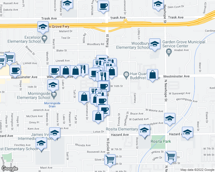 map of restaurants, bars, coffee shops, grocery stores, and more near 1607 North Euclid Street in Santa Ana
