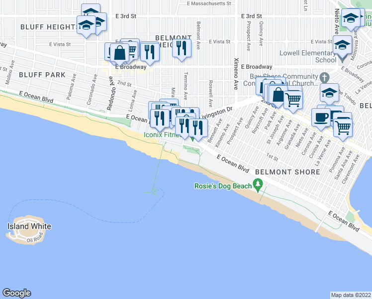 map of restaurants, bars, coffee shops, grocery stores, and more near 4000 East Olympic Plaza in Long Beach