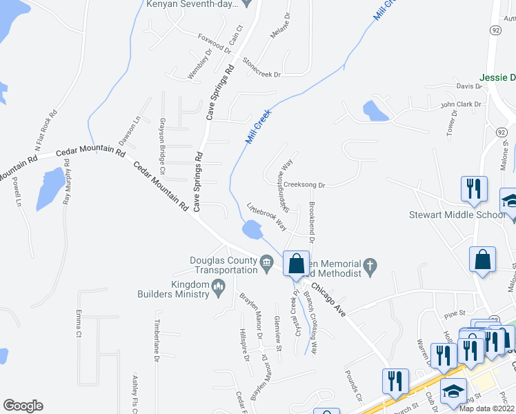 map of restaurants, bars, coffee shops, grocery stores, and more near 7097-7099 Littlebrook Way in Douglasville