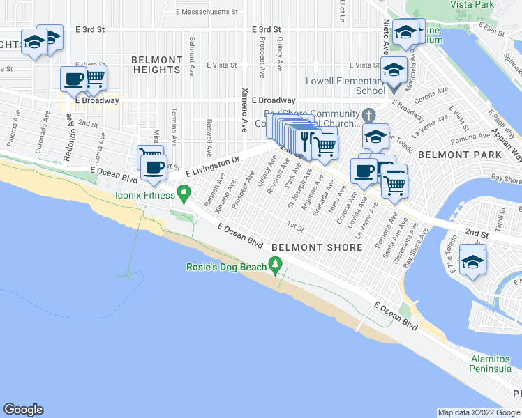 map of restaurants, bars, coffee shops, grocery stores, and more near East 1st Street & Roycroft Avenue in Long Beach