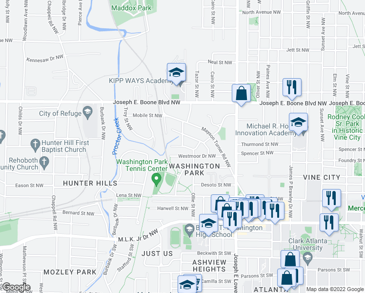 map of restaurants, bars, coffee shops, grocery stores, and more near Ollie Street Northwest & Ollie Circle Northwest in Atlanta