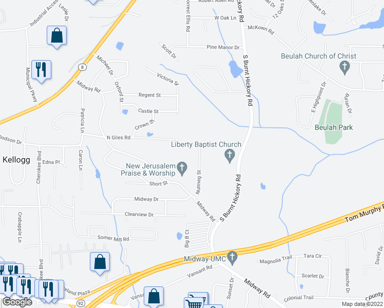 map of restaurants, bars, coffee shops, grocery stores, and more near 1675 Nutmeg Street in Douglasville