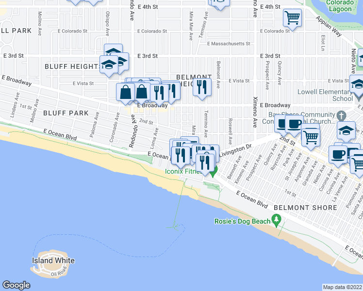 map of restaurants, bars, coffee shops, grocery stores, and more near E 1st St & N Grand Ave in Long Beach