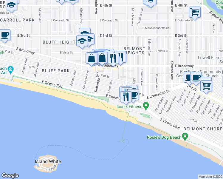 map of restaurants, bars, coffee shops, grocery stores, and more near 26 Loma Avenue in Long Beach