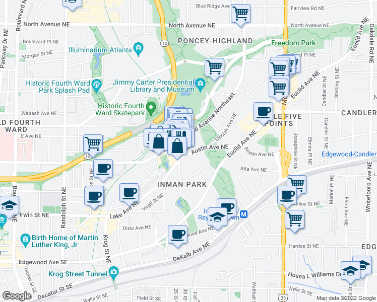 map of restaurants, bars, coffee shops, grocery stores, and more near 928 Austin Ave NE in Atlanta