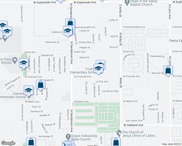 map of restaurants, bars, coffee shops, grocery stores, and more near 2977 Fruitvale Ave in Hemet