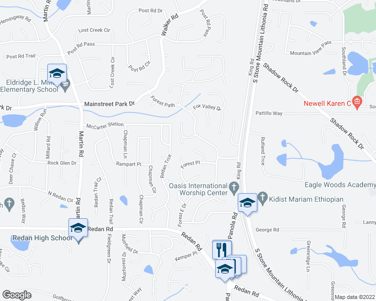map of restaurants, bars, coffee shops, grocery stores, and more near 974 Fox Valley Trail in Stone Mountain