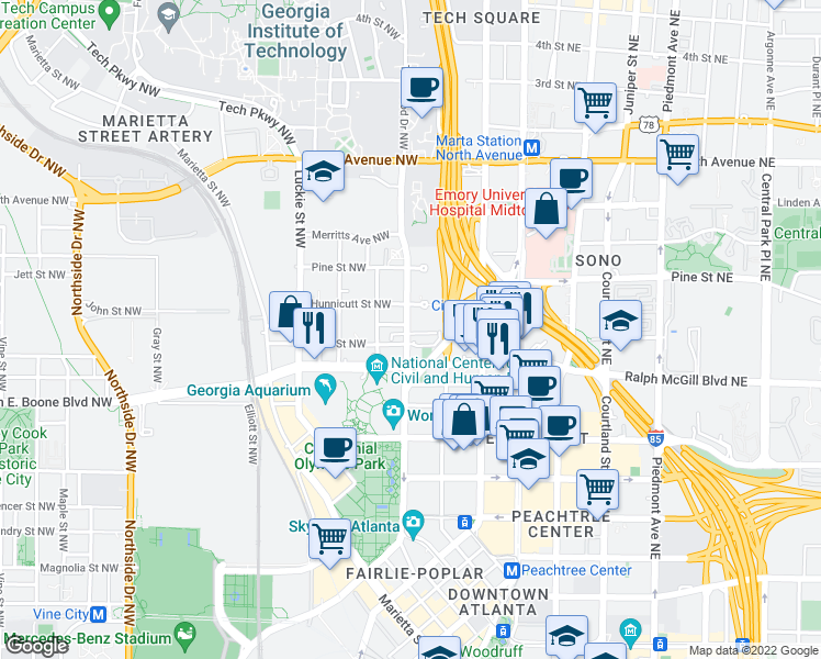 map of restaurants, bars, coffee shops, grocery stores, and more near 100-102 Hunnicutt Street Northwest in Atlanta