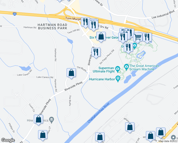 map of restaurants, bars, coffee shops, grocery stores, and more near 270 Riverside Parkway Southwest in Austell