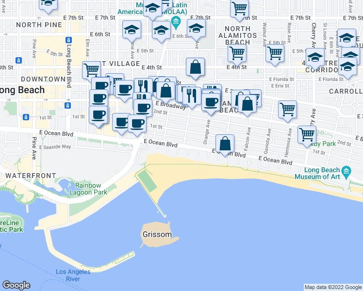 map of restaurants, bars, coffee shops, grocery stores, and more near E Ocean Blvd in Long Beach