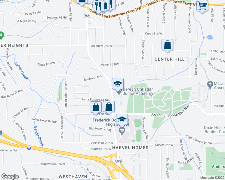map of restaurants, bars, coffee shops, grocery stores, and more near 405 Hamilton E Holmes Dr NW in Atlanta