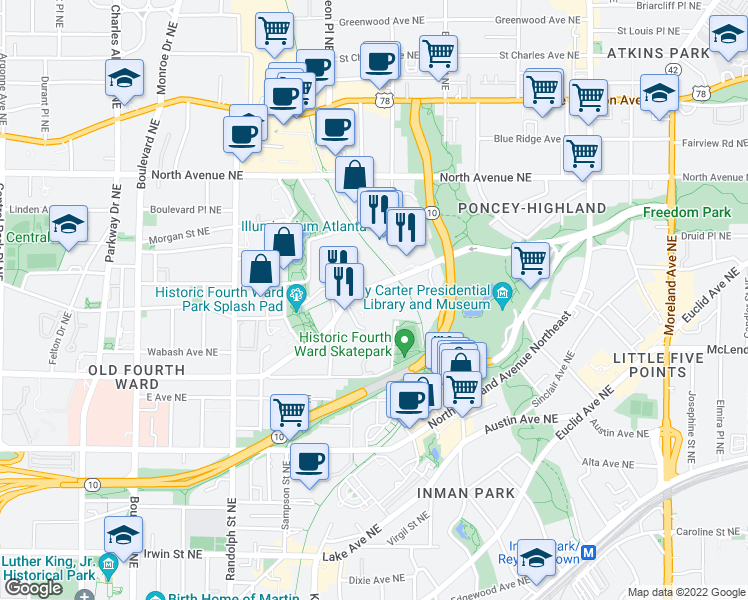 map of restaurants, bars, coffee shops, grocery stores, and more near 747 Ralph McGill Boulevard Northeast in Atlanta