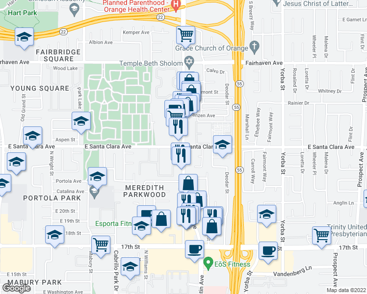 map of restaurants, bars, coffee shops, grocery stores, and more near N Tustin Ave & E Santa Clara Ave in Santa Ana