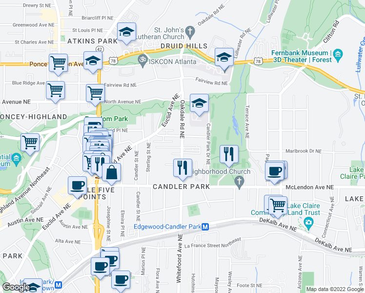 map of restaurants, bars, coffee shops, grocery stores, and more near 506 Oakdale Rd NE in Atlanta