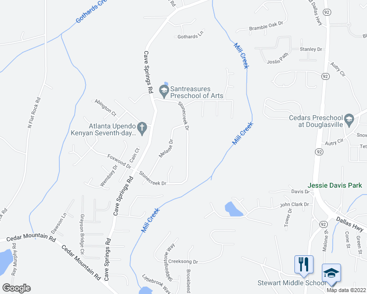 map of restaurants, bars, coffee shops, grocery stores, and more near 7070 Stonecreek Drive in Douglasville