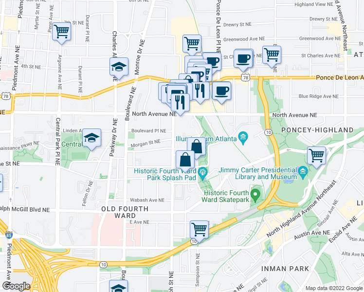 map of restaurants, bars, coffee shops, grocery stores, and more near 648 Morgan St NE in Atlanta
