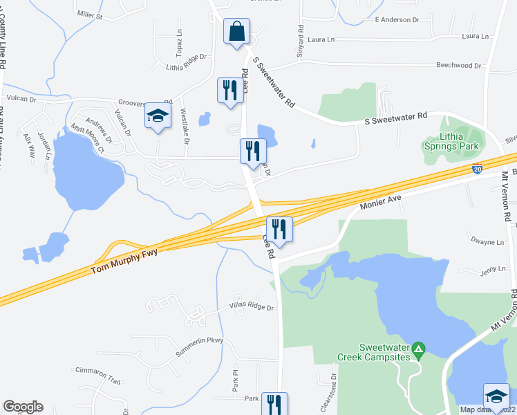 map of restaurants, bars, coffee shops, grocery stores, and more near 7572-7598 Lee Road in Lithia Springs