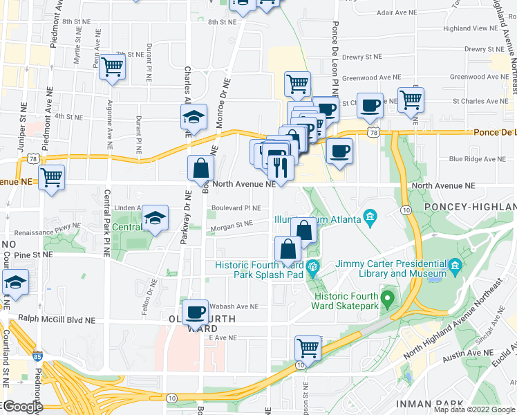 map of restaurants, bars, coffee shops, grocery stores, and more near 560 Morgan St NE in Atlanta