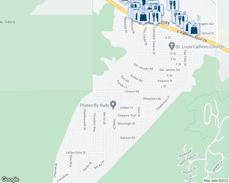 map of restaurants, bars, coffee shops, grocery stores, and more near Vista Dr & Terrace Rd in Cathedral City