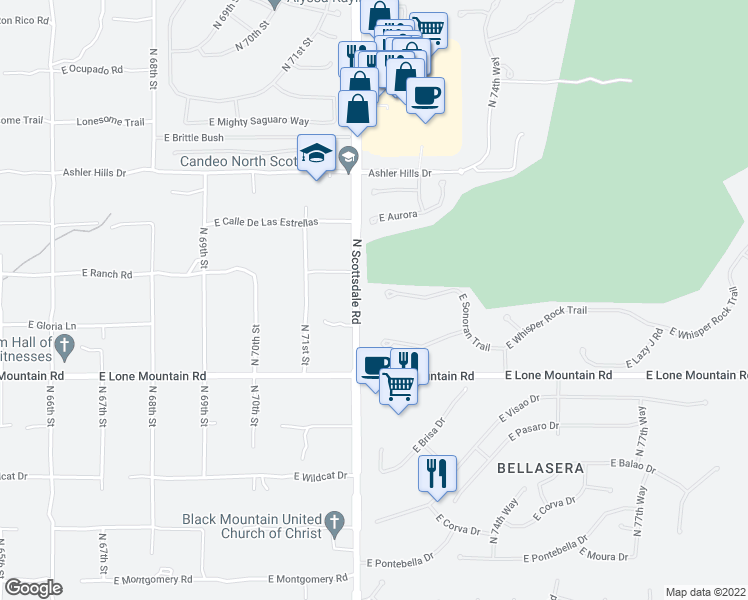 map of restaurants, bars, coffee shops, grocery stores, and more near 7254 East Sonoran Trail in Scottsdale
