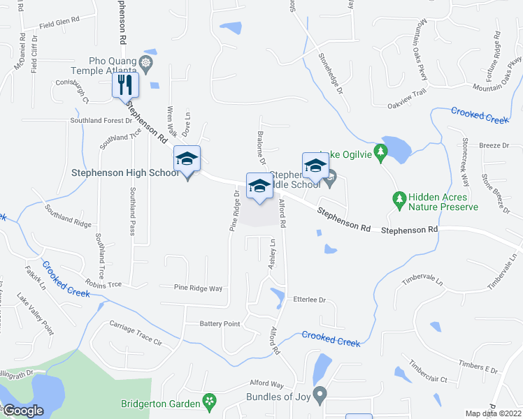 map of restaurants, bars, coffee shops, grocery stores, and more near 764 Ashley Lane in Ston