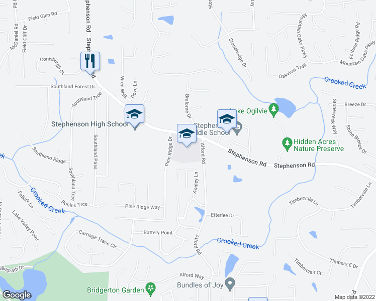 map of restaurants, bars, coffee shops, grocery stores, and more near 764 Ashley Lane in Stone Mountain