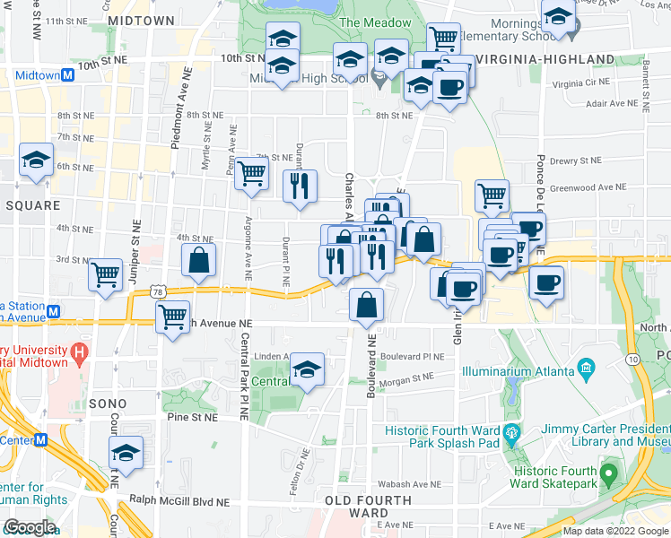 map of restaurants, bars,