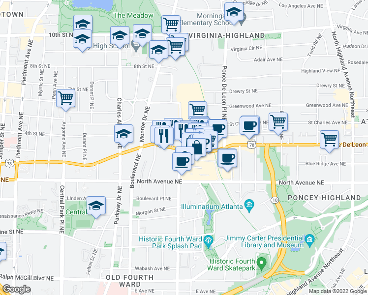 map of restaurants, bars, coffee shops, grocery stores, and more near 600 Ponce De Leon Ave NE in Atlanta