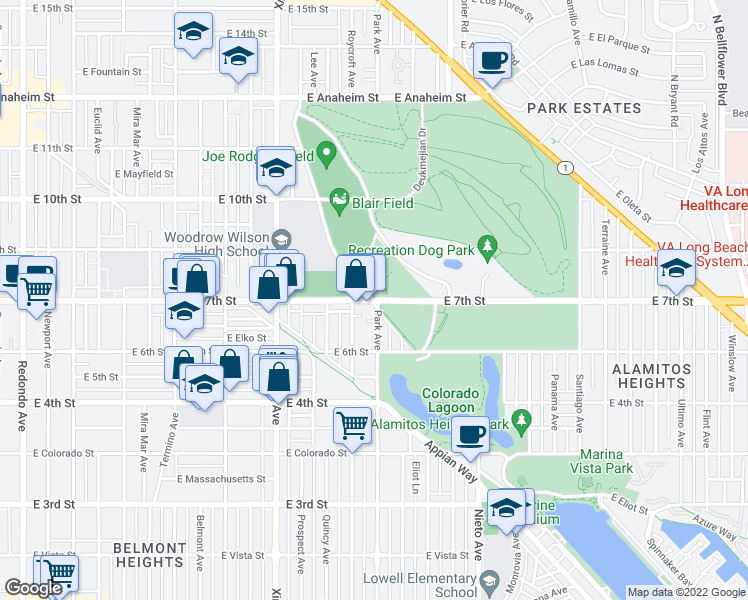 map of restaurants, bars, coffee shops, grocery stores, and more near E 7th St & Park Ave in Long Beach