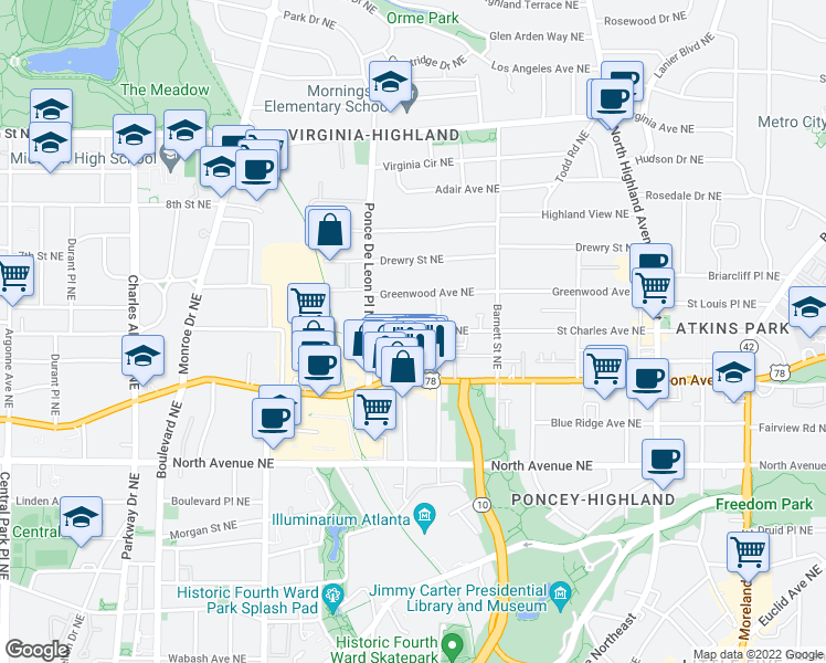 map of restaurants, bars, coffee shops, grocery stores, and more near 786 Saint Charles Avenue Northeast in Atlanta