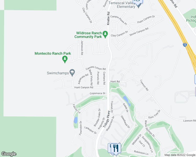map of restaurants, bars, coffee shops, grocery stores, and more near Pomelo Rd in Corona