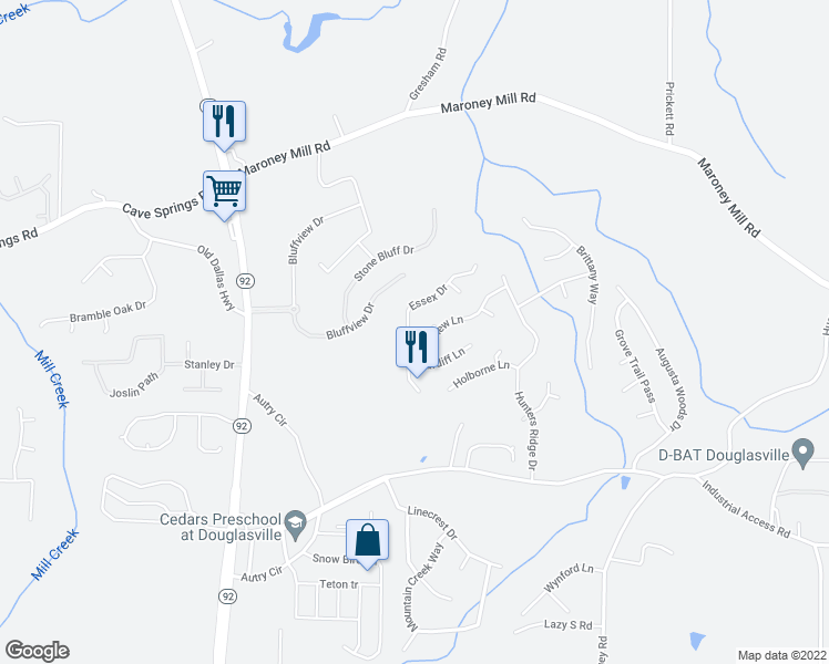 map of restaurants, bars, coffee shops, grocery stores, and more near 7378 Essex Dr in Douglasville